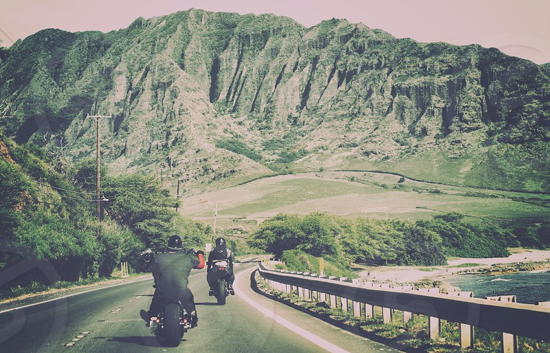 Motorcycles Hawaii Mountains photo