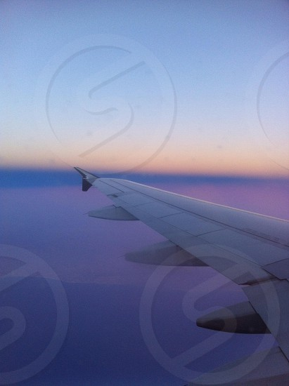 view of white airplane wing photo