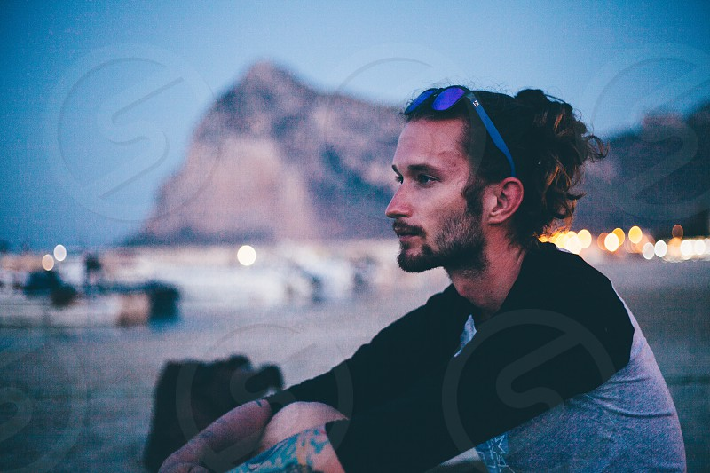 Night portrait at the beach photo