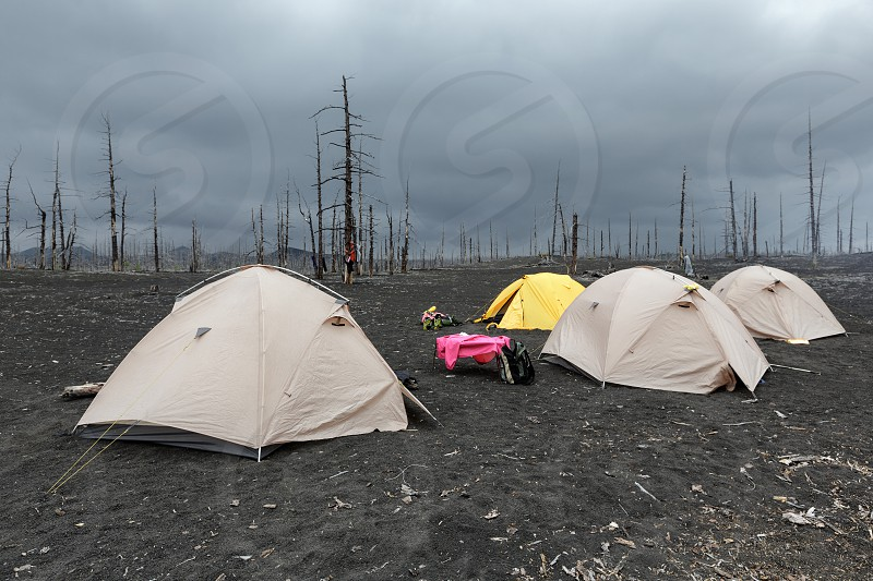 Tourist tents standing in Dead Wood on volcanic slag and ash eruptions Tolbachik Volcano - consequence of catastrophic eruption of volcano during on Kamchatka Peninsula in 1975-1976. photo