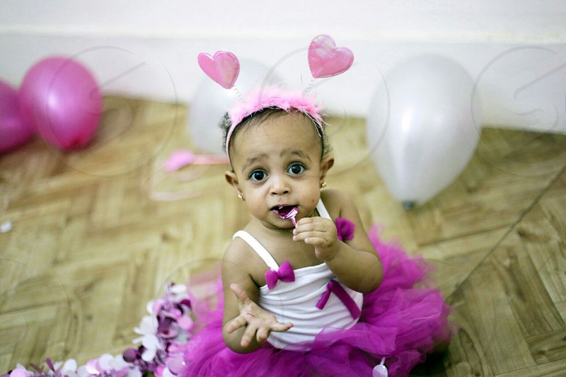 Egyptian little girl at her birthday's photos session . photo