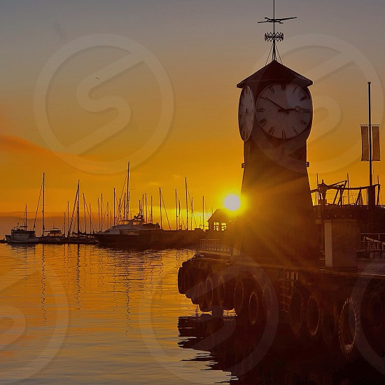 Time for sunset - sunset - seaside - water - boats  photo
