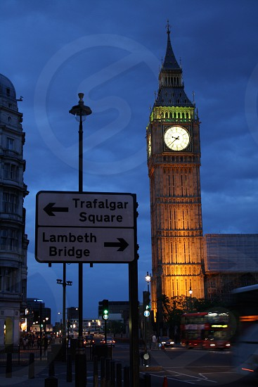 Big Ben London England Dusk Trafalgar Square Lambeth Bridge photo