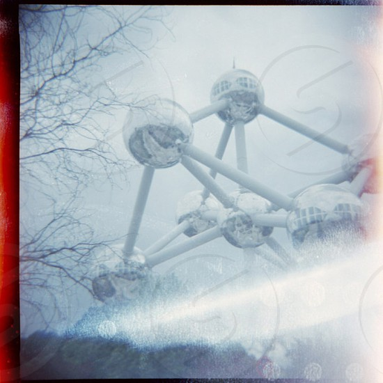 Atomium in Brussels Belgium. Autumn sky. 120mm Diana with sideburns and some double exposure defects.  photo