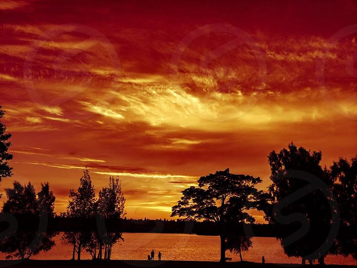 Fiery sunset over Green lake  photo