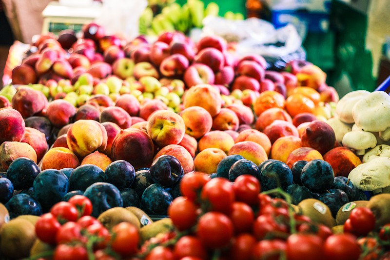 Fruit and Vegetable market in Malta (peaches) photo