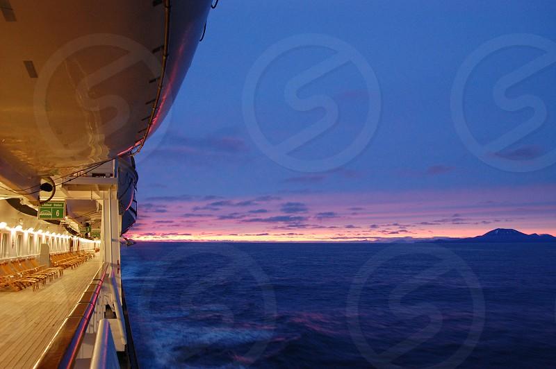 Alaska cruse at sunset photo