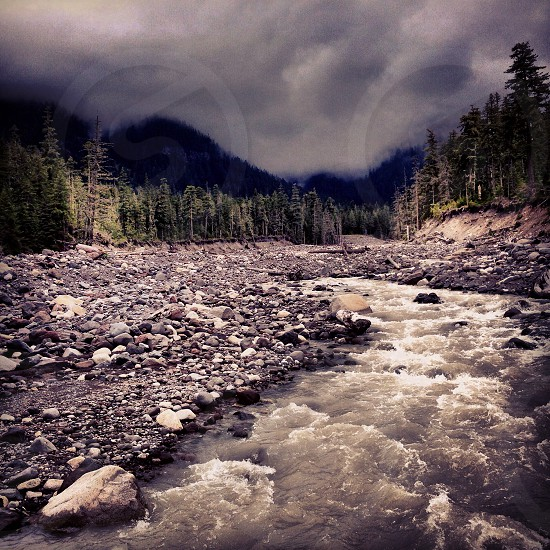 storm clouds stormy sky rivers nature dark gloomy photo