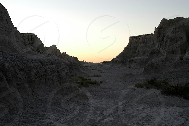 Badlands. Notch. Sunset. South Dakota. photo