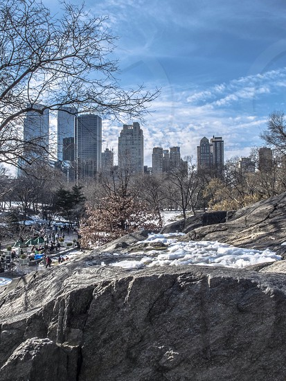 rock formation near city photo