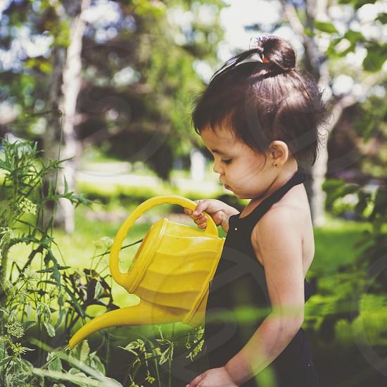 Model:Ruby watering plants toddler boy photo