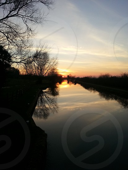 Sunset reflection canal Devizes  photo