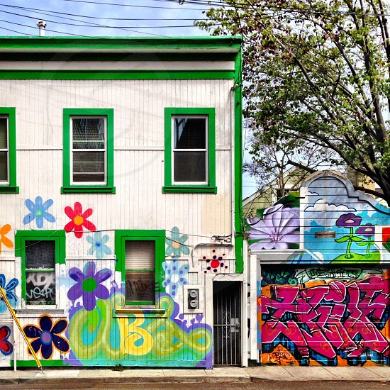 SF Mission District has alleyways with colorful murals.  photo