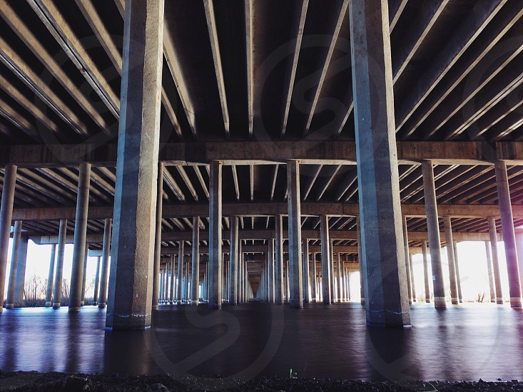 warehouse with cement pillars photo