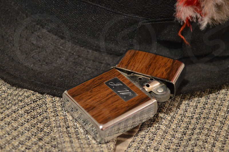 brown flip top lighter photo