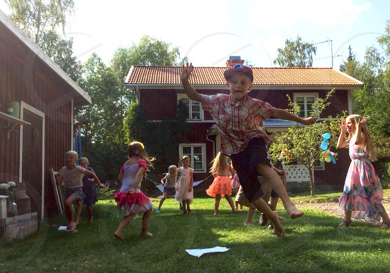 Kids child playing outdoor girls boys birthday party photo