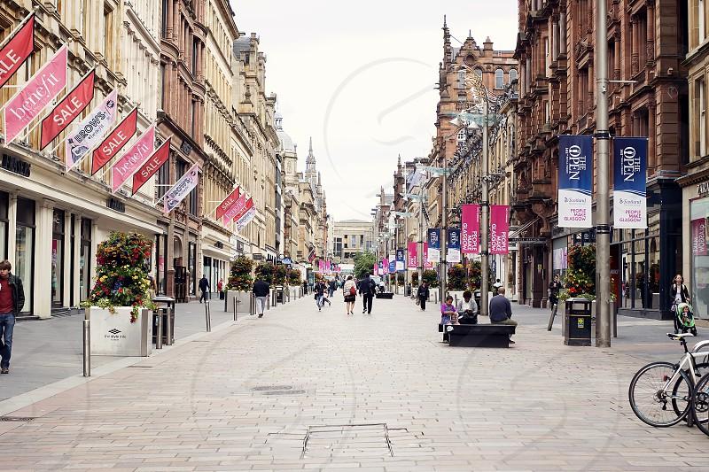 Hustle and bustle of Buchanan Street in Glasgow Scotland. photo