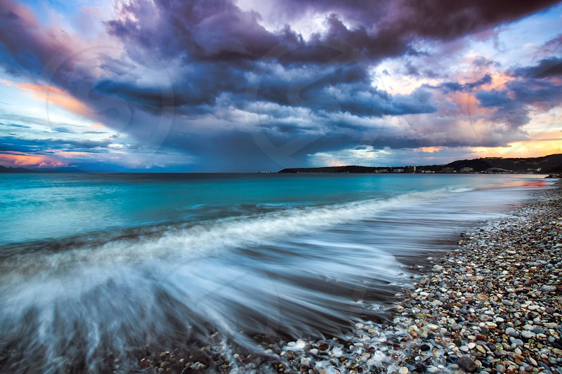 a stormy afternoon at Ialysos Rhodes Greece photo