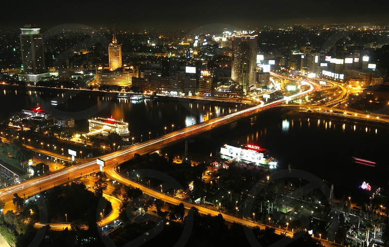 Night view from Cairo Tower observation deck photo