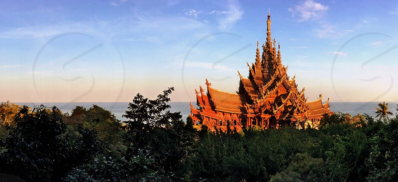 Sunrise at Sanctuary of Truth located in Pattaya  photo