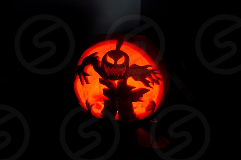 Jack; jack'o'lantern; pumpkin; Halloween; autumn; lamp; lantern; lit; illumination; scary; decoration; festive; autumn; season; cutout photo