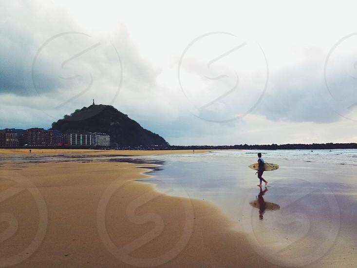 San Sebastián Surfer Beach Travel Shadow photo