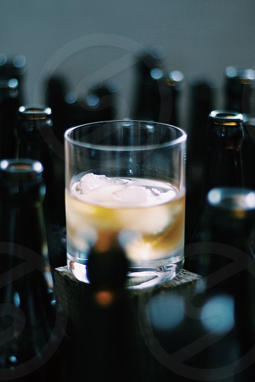 Whiskey scotch on the rocks bottles  photo