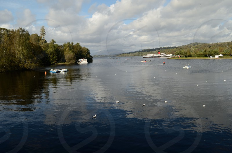 A bright sunny morning at Loch Lomond in Scotland  photo