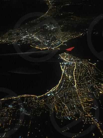 Istanbul Night Evening Aeroplane Airplane  photo