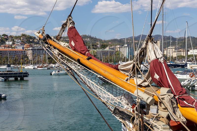 LA SPEZIA LIGURIA/ITALY  - APRIL 19 : Old sailing clipper moored in La Spezia Liguria Italy on April 19 2019. One unidentified person photo