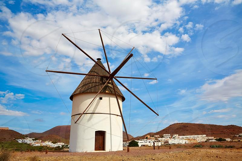 Almeria Molino Pozo de los Frailes windmill traditional in Spain photo