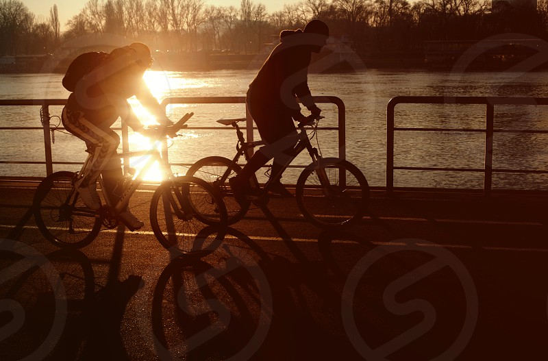 Bicycles in sunset with sun flare photo