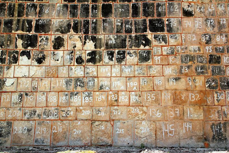 pok ta pok Mayan Chichen Itza reconstruction wall Mexico Yucatan photo