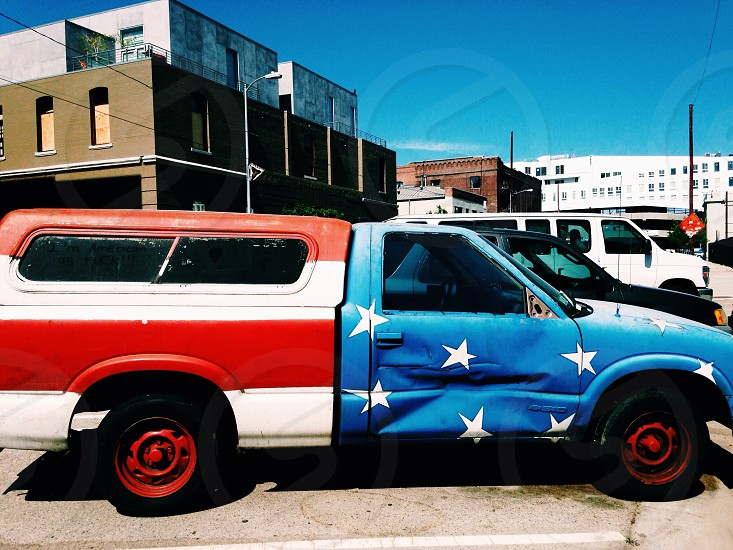 united states of america painted pick up truck photo