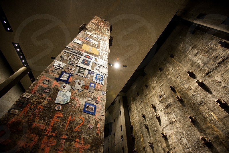The Final Pillar at the September 11th Memorial at the Ground Zero World Trade Center NYC New York. photo