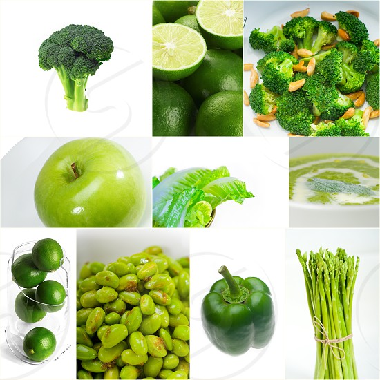 green healthy food collage collection nested on white frame photo