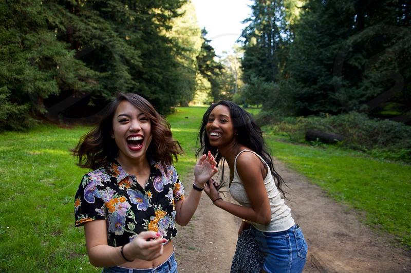 two women laughing photo