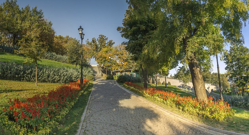 Panoramic view in the Istanbul park in Odessa Ukraine on a sunny autumn morning photo
