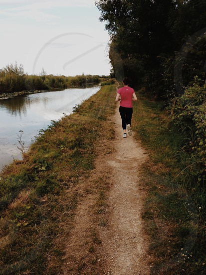 VSCO M5 female jogging fitness canal tow path photo