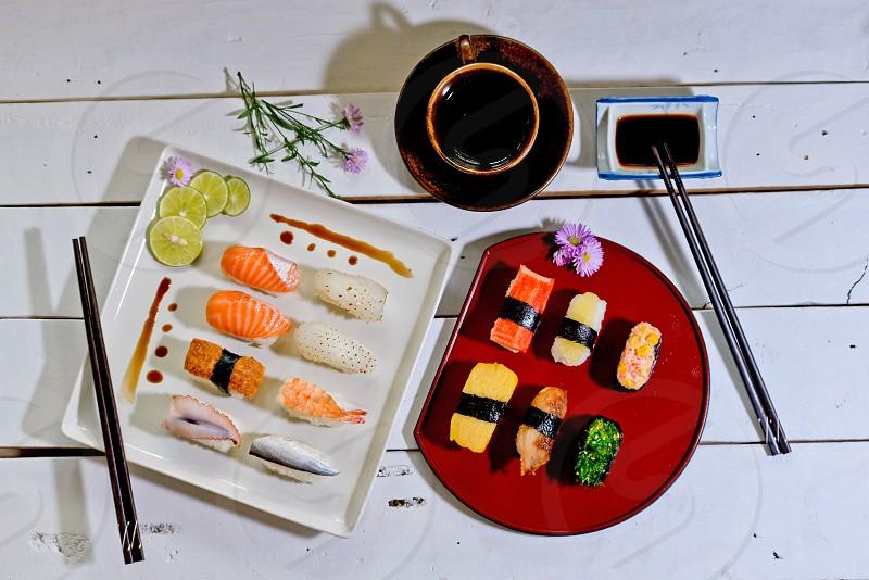sushi japan food stockphoto tea cup restantant photo