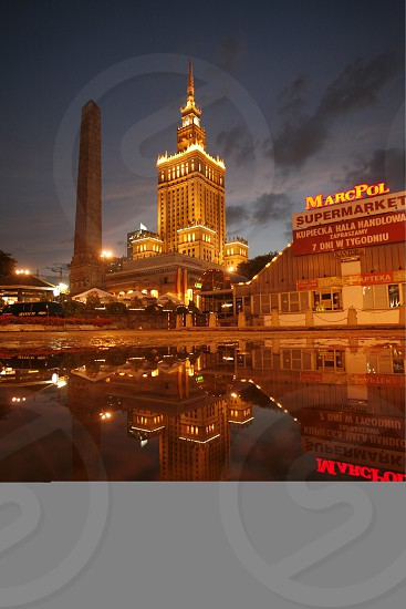 The Culture Palace in the City of Warsaw in Poland East Europe. photo
