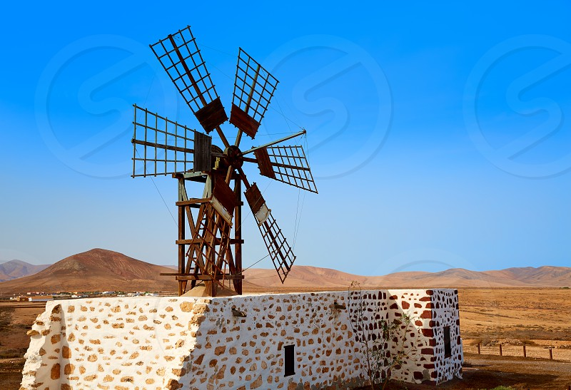 Tefia windmill Fuerteventura at Canary Islands of Spain photo