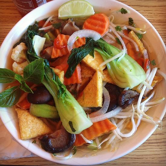 Phở Soup Vegan Vegetarian Tofu Food Vietnamese Vegetables Mushrooms BokChoy Dinner Lunch Carrots  photo