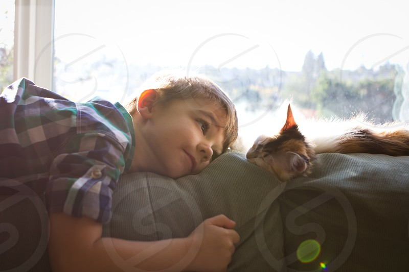 boy wearing white green and purple polo laying down in gray cushion while looking on the fawn cat during daytime photo