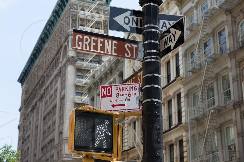 Soho Greene St sign in redlight Manhattan New York City NYC USA photo