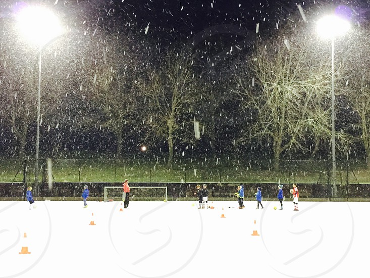 Football in the snow photo