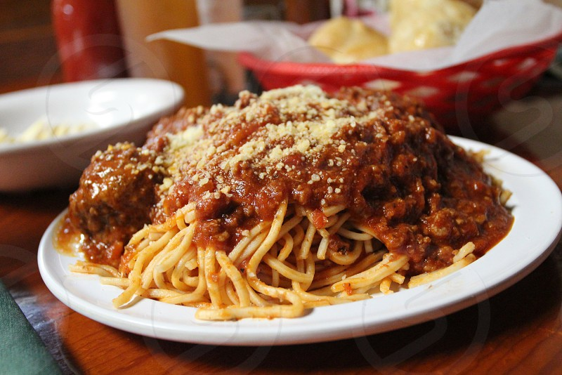 Spaghetti with meat sauce and meatballs photo