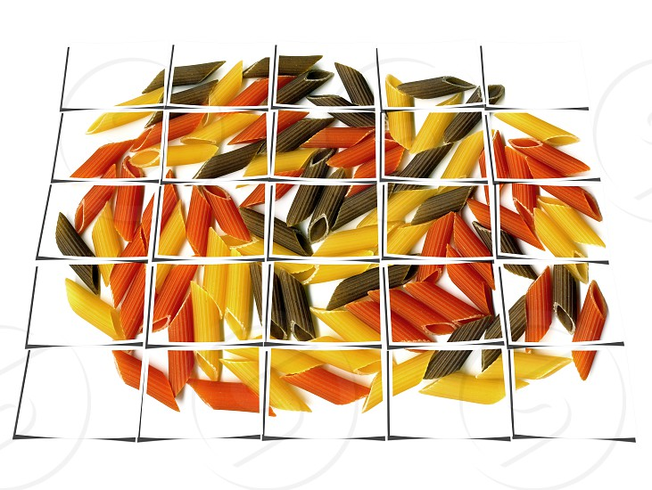 penne italian pasta on white background collage composition of multiple images over white photo
