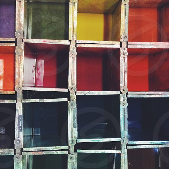 colored metal compartments photo