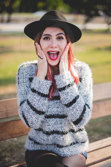 hipster pink hair style  photo